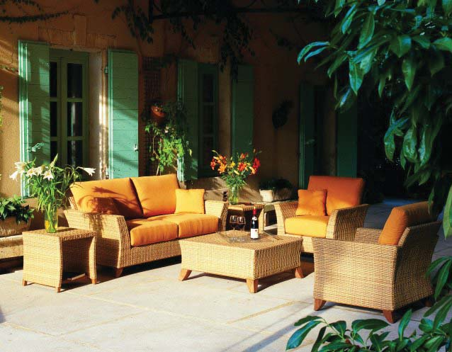 PALM BEACH Sofa, Sessel, Beistelltisch und Couchtisch, Geflechtfarbe ribbed natural